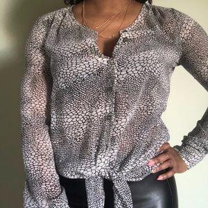 DKNY printed sheer blouse